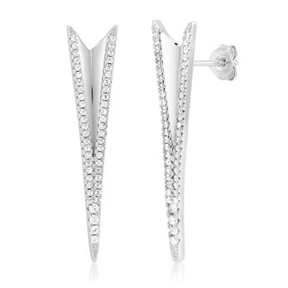 Women's Sterling Silver Rhodium-Plated Cubic Zirconia Long Triangle Earrings
