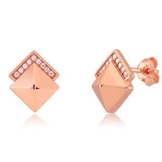 Sterling Silver Cubic Zirconia Gold-plated Pyramid Stud Earrings