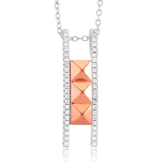 Sterling Silver Rhodium and Rose Gold-plated Cubic Zirconia Pyramid Ladder Necklace