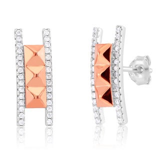 Rhodium- and Rose-gold-plated Sterling Silver CZ Pyramid Ladder Stud Earrings