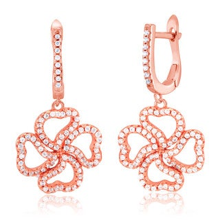 Rose Gold-plated Sterling Silver Cubic Zirconia Heart Clover Dangling Earrings