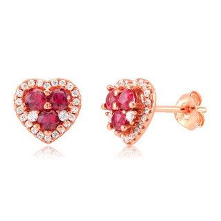 Sterling Silver Rose Gold-plated Garnet Cubic Zirconia Heart Stud Earrings
