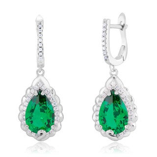 Rhodium-plated Sterling Silver Emerald Cubic Zirconia Teardrop Dangling Earrings