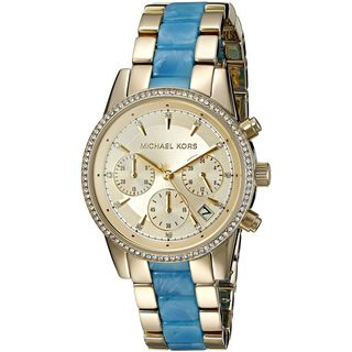 Michael Kors Women's MK6328 'Ritz' Chronograph Crystal Two-Tone Stainless steel and Acetate Watch