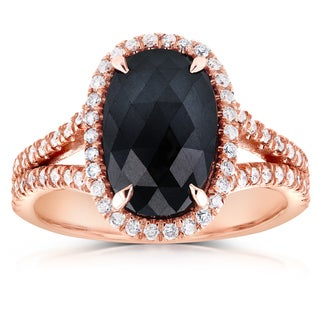 Annello by Kobelli 14k Rose Gold 3 3/5ct TDW Black and White Diamond Split Shank Oval Halo Ring