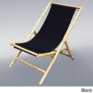 Zew Hand Crafted Foldable Bamboo Sling Patio Chair
