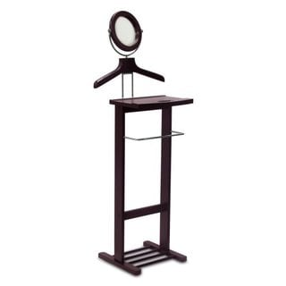 Espresso Open Base Valet Stand with Mirror