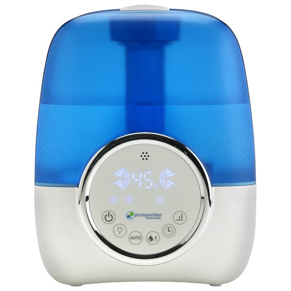 PureGuardian H1250 Blue, White Plastic 1.5-Gallon Ultrasonic Cool Mist Humidifier with Digital Smart Mist Sensor