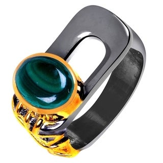 Orchid Jewelry Two-tone Gold and Black Overlay 3ct Genuine Malachite Ring
