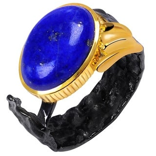 Orchid Jewelry Two-tone Gold and Black Overlay 6 1/2ct Genuine Lapis Ring