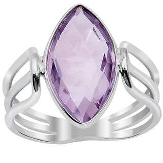 Orchid Jewelry Silver Overlay 3 1/5ct Marquise-cut Natural Amethyst Gemstone Fashion Ring