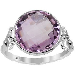 Orchid Jewelry Silver Overlay 5 2/5ct. Carat Pink Amethyst Birthstone Ring