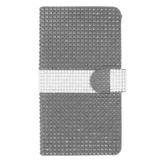 Insten Black/ Silver Leather Diamond Bling Case Cover with Wallet Flap Pouch For ZTE ZMax