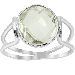 Orchid Jewelry Silver Overlay 3ct. Genuine Green Amethyst Gemstone Ring