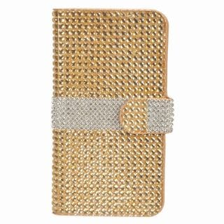 Insten Black/ Silver Leather Diamond Bling Case Cover with Wallet Flap Pouch For ZTE Prestige