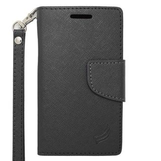 Insten Black Leather Case Cover Lanyard with Stand/ Wallet Flap Pouch/ Photo Display For ZTE Prelude 2/ Whirl 2/ Zinger