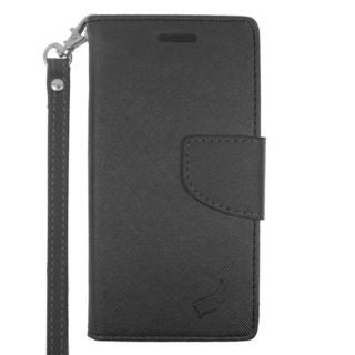 Insten Black Leather Case Cover Lanyard with Stand/ Wallet Flap Pouch/ Photo Display For ZTE Fanfare/ Overture 2
