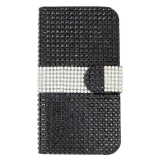 Insten Black/ Silver Leather Rhinestone Bling Case Cover with Wallet Flap Pouch For ZTE Fanfare/ Overture 2