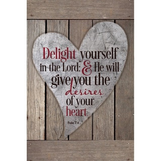 """Delight Yourself In The Lord..."" New Horizons Wood Plaque"
