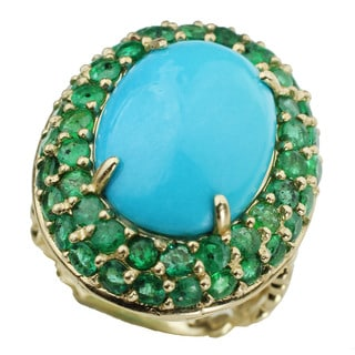 Michael Valitutti 14k Yellow Gold Sleeping Beauty Turquoise with Emerald Halo Ring