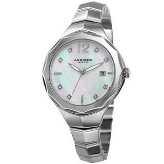 Akribos XXIV Women's Quartz Swarovski Crystal Elements Silver-Tone Bracelet Watch with FREE GIFT