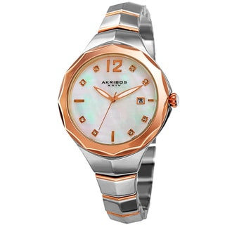 Akribos XXIV Women's Quartz Swarovski Crystal Two-Tone Bracelet Watch