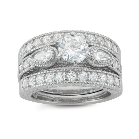 Gioelli Sterling Silver Round-cut Created White Sapphire 3-piece Bridal Ring Set