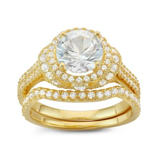 Gioelli Gold Plated Sterling Silver Round-cut Halo Created White Sapphire 2-Piece Bridal Ring Set