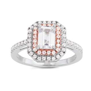 Gioelli Two-tone Silver Emerald-cut Halo Created White Sapphire Engagement Ring