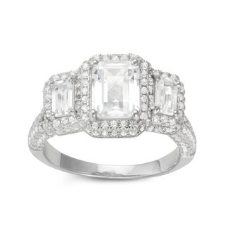 Gioelli Two-tone Sterling Silver Emerald-cut Halo Created White Sapphire Engagement Ring (More options available)