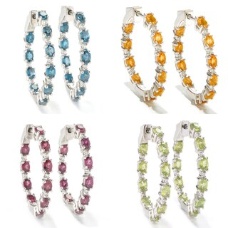 Sterling Silver 1.25-inch Gemstone and White Zircon Hoop Earrings (Option: Zircon)