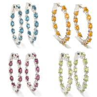 Sterling Silver 1.25-inch Gemstone and White Zircon Hoop Earrings