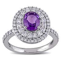 Miadora Signature Collection 14k White Gold Oval-cut African Amethyst and 7/8ct TDW Diamond Halo Eng