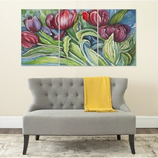 Safavieh Nouveau Tulips Triptych Canvas Wall Art