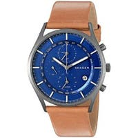 Skagen Men's  'Holst' World Time and Alarm Chronograph Brown Leather Watch