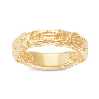 Gioelli Yellow Gold Plated Sterling Silver Byzantine Eternity Band Ring