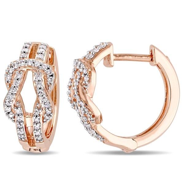 Miadora 10k Rose Gold 1/4ct TDW Diamond Interlocking Hoop Earrings