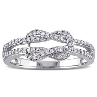 Miadora 10k White Gold 1/4ct TDW Diamond Interlocking Ring