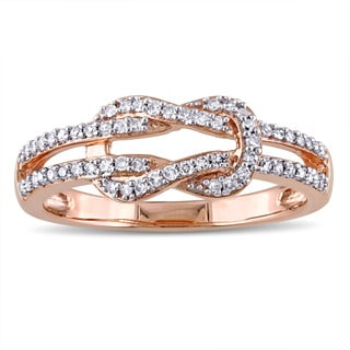 Miadora 10k Rose Gold 1/4ct TDW Diamond Interlocking Ring