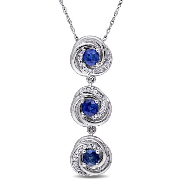 Miadora Signature Collection 10k White Gold Sapphire and 1/6ct TDW Diamond 3-stone Flower Necklace (G-H, I2-I3)