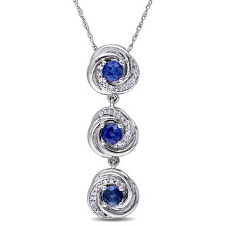Miadora Signature Collection 10k White Gold Sapphire and 1/6ct TDW Diamond 3-stone Flower Necklace (G-H, I2-I3) - Blue