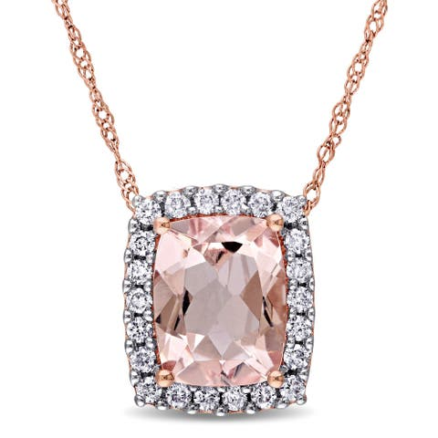 Miadora Signature Collection 14k Rose Gold Cushion-cut Morganite and 1/4ct TDW Diamond Halo Necklace (G-H, I1-I2) - Pink