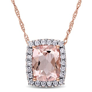 Miadora Signature Collection 14k Rose Gold Cushion-cut Morganite and 1/4ct TDW Diamond Halo Necklace (G-H, I1-I2)