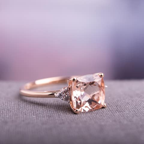 Miadora Signature Collection 14k Rose Gold Cushion-cut Morganite and Diamond Accent Cocktail Ring