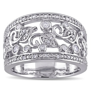 Miadora Sterling Silver 1/4ct TDW Diamond Filigree Anniversary Ring (G-H, I2-I3)