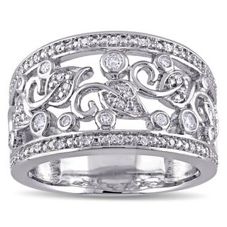 Miadora Sterling Silver 1/4ct TDW Diamond Filigree Anniversary Ring