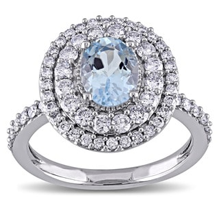Miadora Signature Collection 14k White Gold Oval-cut Aquamarine and 7/8ct TDW Diamond Double Halo Engagement Ring (G-H, I1-I2)