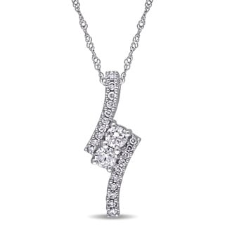 Miadora 14k White Gold 1/2ct TDW Diamond 2-stone Necklace