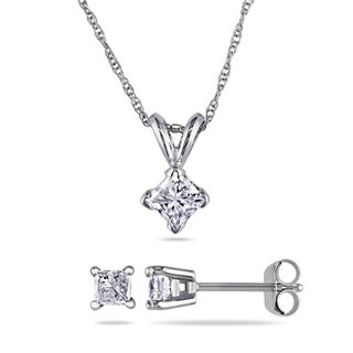 Miadora Signature Collection 14k White Gold 1ct TDW Princess-cut Diamond Solitaire Necklace and Stud Earrings Set (I-J, I2-I3)