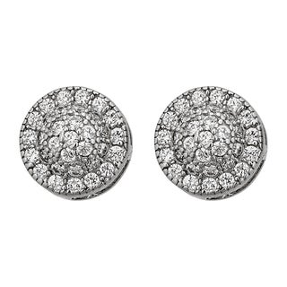 Decadence Sterling Silver Micropave Round UFO Stud Earrings